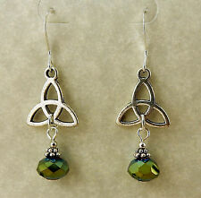 Silver plated Celtic Triquerta Trinity Knot earrings with green crystals