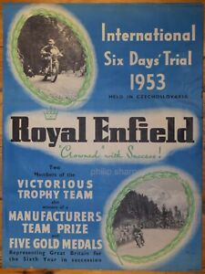 ROYAL ENFIELD - INTERNATIONAL SIX DAYS' TRIAL 1953, GENUINE VINTAGE, PUB, 1953.
