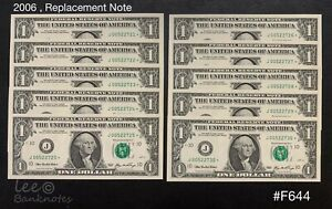 US - 2006  Series 1 Dollar  Star Note ( Replacement )  x 10 Running    UNC