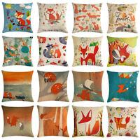 Cute Fox Linen Cotton Throw Pillow Case Cushion Cover Sofa Home Decor Square