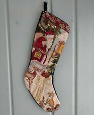 Needlepoint Santa Sack Christmas Stocking Green Velvet Animals Deer Fox Lined