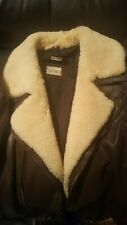 Genuine leather bomber jacket w/ real lambskin collar