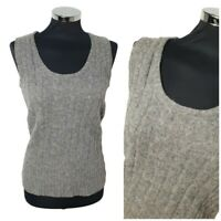 Long Tall Sally Grey Wool Knit top SZ XS Sleeveless - Great for Layering UK 8 10