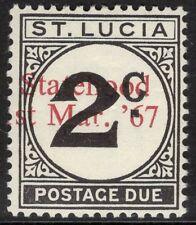 ST.LUCIA SGD11var 1967 UNISSUED 2c POSTAGE DUE OP STATEHOOD IN RED MTD MINT