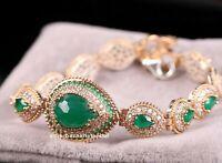 Turkish Handmade 925 Sterling Silver Emerald Green Stone Lady Woman Braceelet 02