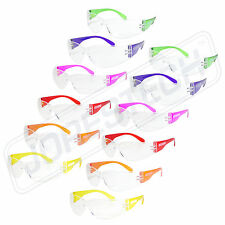 12 PAIR JORESTECH CLEAR UV400 LENS LOT SAFETY GLASSES BULK NEW MULTI COLOR
