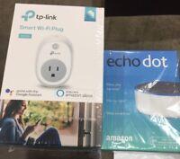 Brand New Amazon Echo Dot Still Sealed With TP - LINK Smart Wi-Fi Plug HS 100