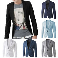 Fashion Men's Casual Slim Fit Formal One Button Suit Blazer Coat Jacket Tops New