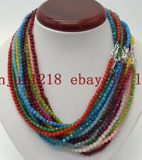 Wholesale 4mm Faceted Multicolor Round Gemstone Beads Necklace 18'' AAA+