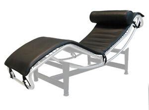 chaise longue Bauhaus matelas housse compatible cuir Noir