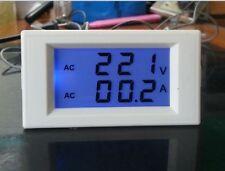 Digital AC 300V 50A Blue Lcd Dual Panel Volt Amp Combo Meter +CT 110v 220v 240v