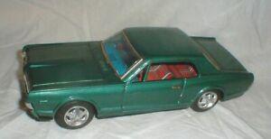 "Vintage Tin 1967 MERCURY COUGAR Dark Green Friction 10"" Toy Car by Bandi Japan"