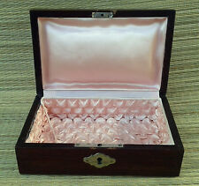 Antique box wooden molltonnee pink, déco vintage, art pop, old french box
