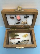 wooden box of 12 different Fly Fishing Flies