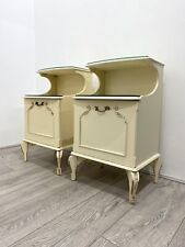 Pair of * OLYMPUS BEDSIDE TABLES Cabinets * French Louis Style * Cream Gold *