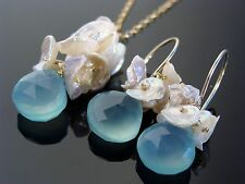 Sky Blue Chalcedony Keishi Pearl 14K Gold Filled Gemstone Earrings and Necklace