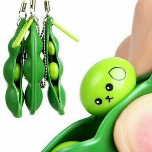 1PCS Soy Bean Pea Pod Fidget Stress Toy Keyring Anti Anxiety Stress Relief Tool