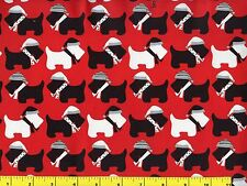 Black & White Christmas Scotty Dogs on Red Quilting Fabric by Yard  #3153