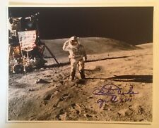 Astronaut Charles Duke Signed Photograph on the Moon with Flag (Apollo 16)