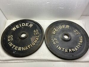 Weider International pair of 20KG 44 lb Olympic plates Olympic Vintage
