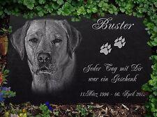 """GRABSTEIN Tiergrabstein Gravur Hunde Hund-039 â–º 30 x 20 cm â—"""" Ihr Foto + Text"""