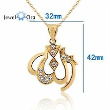 Allah Pendant Gold Urdu Prayer Religious Chain Fashion Stainless Metal