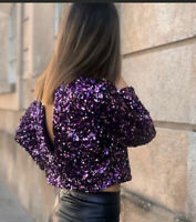 ZARA Blouse M PURPLE CROPPED SEQUIN CROP TOP REF: 2157/268 AW19