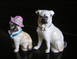 Victorian Pugs Porcelain Bisque Figurine Pair Open Legs + a Hat