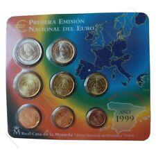 Euro Set  con los Euros de  España 1999 FNMT PRIMERA EMISIÓN NACIONAL DEL EURO