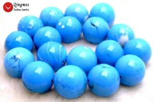"""20mm Round Natural Blue TURQUOISE Loose Beads for Jewelry Making DIY Strand 15"""""""