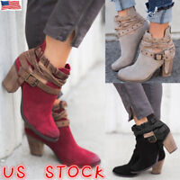 Women Vintage Ankle Boots Ladies Casual Mid Block Heel Chunky Booties Shoes Size