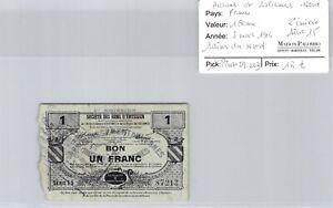 Northern Avesnes & Solesmes Sains-Du-Nord 1 Franc 5.3.1916 N°87213 Pirot 59.203