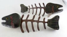 Pair Wood Metal Rustic Trout Fish Skeleton 2 Sided - Wall Hanging - VTG Handmade