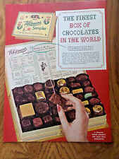 1953 Whitman's Sampler Candy Ad The finest Box of Chocolates in the World