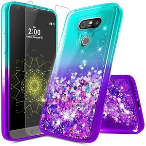 For LG G5 Case Liquid Glitter Bling Shockproof Soft Phone Cover+Screen Protector