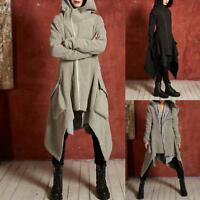 Women Long Gothic Steampunk Parka Coat Hooded Cotton Slim Asymmetric Punk Jacket