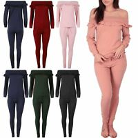Womens Ladies Ribbed Ruffle Frill Off Shoulder Top Jogger Loungewear Tracksuit