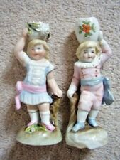 ANTIQUE German  porcelain Figurines-candle holders,girl and boy