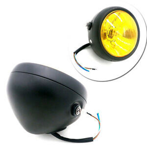 "Universal 6.5"" 12V Amber Motorcycle Headlight Spot Fog Light High/Low Beam Solid"