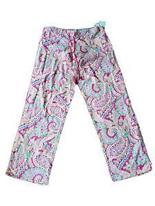 New VERA BRADLEY CAPRI MELON PJ PAJAMA PANTS Pink Paisley LIMITED EDITION size M