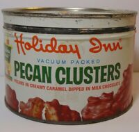 Vintage 1950s HOLIDAY INN HOTEL PECAN NUT GRAPHIC KEYWIND TIN MEMPHIS TENNESSEE