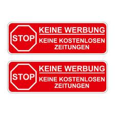 2 x STOP Bitte keine Werbung Briefkasten Aufkleber witterungsbeständig rot