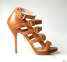new $925 PAUL ANDREW camel tan open-toe BUCKLES strappy heels shoes 35.5 5.5