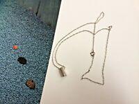Solid 925 Silver bar pendant Sparkly Diamante Rhinestone Chain Necklace