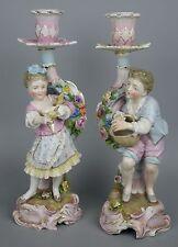 Antique 19C Dresden Volkstedt Richard Eckert couple of figural candlesticks