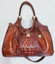 BRAHMIN ELISA PECAN MELBOURNE CROC Genuine Leather SHOULDER BAG Handbag PURSE