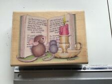 HOUSEMOUSE CHRISTMAS TALE  WOODEN BACKED RUBBER STAMP USED HOUSE MOUSE