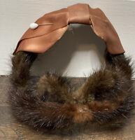 Vintage Brown Mink With Bow Dressy Evening Hat Skullcap 1950s ? 1940s ?