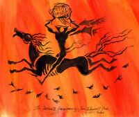 John R York's PRIMITIVE HEADLESS HORSEMAN Sleepy Hollow Halloween SIGNED PRINT!