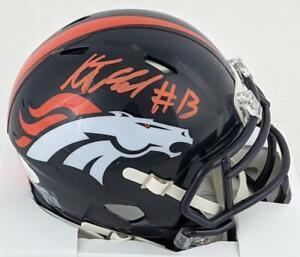 K.J. Hamler Signed Denver Broncos Speed Mini Football Helmet JSA Witness COA